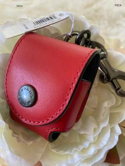 Coach Airpod Earbud Case Bag Chame Red Leather W/coach Patch