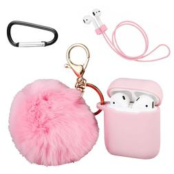 Airpods Silicone Case Cover with Cute Pom Pom Keychain & Ear