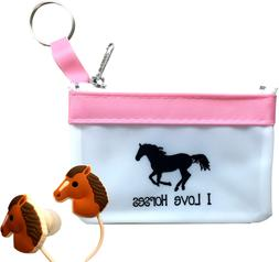 Cute Horse Headphones/Earbuds With Fun Pink Carry Case-Great