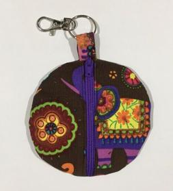 Earbud fabric storage case, 4x4, with zipper and clasp, PURP