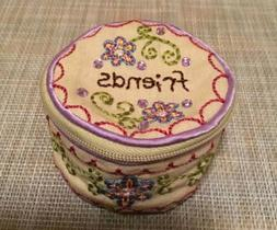 embroidered cotton jewelry round ear bud case