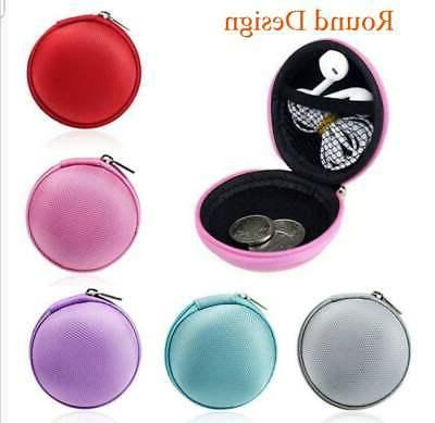 Mini Zippered Earbud Hard Protective Case Cable