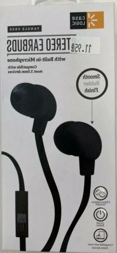 stereo earbuds headphones with a mic black