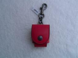 NEW AUTHENTIC COACH RED LEATHER EAR BUD CASE/BAG CHARM #8819