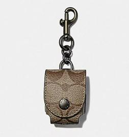 NWT Coach AirPods Earbud Case Bag Charm Keychain In Signatur