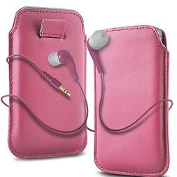 Pink PU Leather Pull Tab  Flip Case Cover & Earbud Earphone